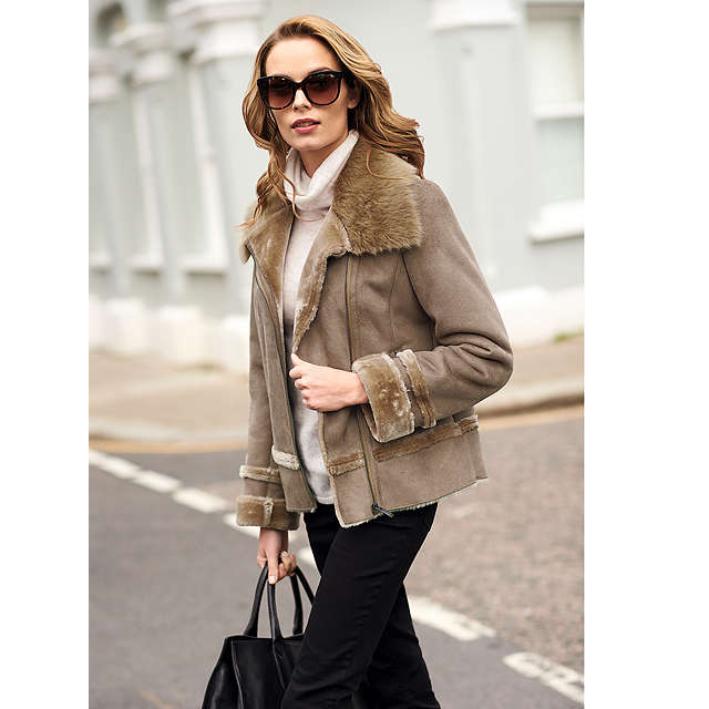 Pure Collection Leah Faux Shearling Jacket, Grey Camel at John Lewis