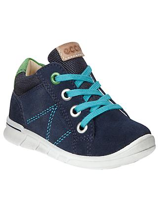 ECCO Children's Lace-Up Suede Logo Shoes