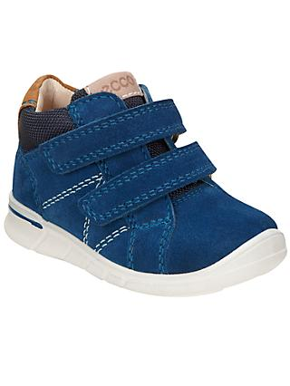 ECCO Children's Suede Riptape Logo Shoes, Marine