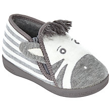 Buy John Lewis Baby Zebra Slippers, Grey Online at johnlewis.com
