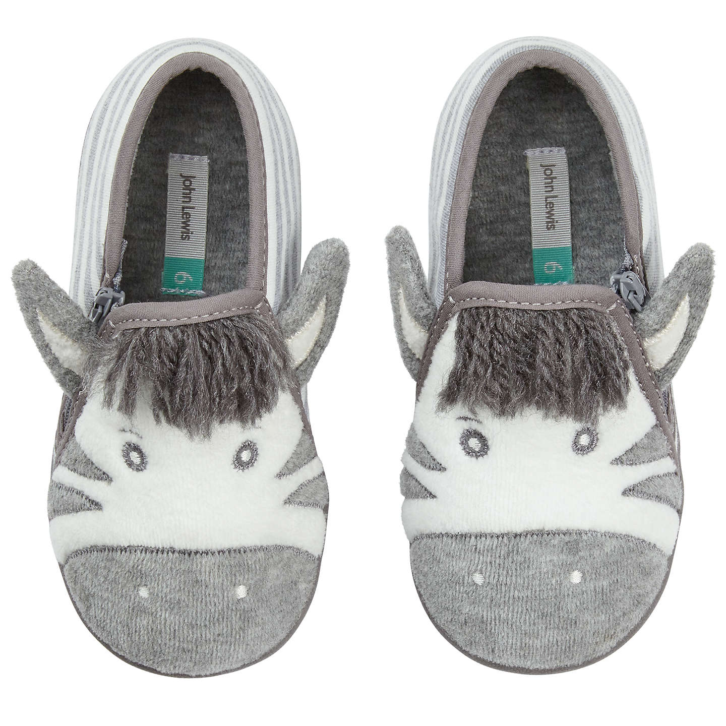 BuyJohn Lewis Baby Zebra Slippers, Grey, 3 Jnr Online at johnlewis.com
