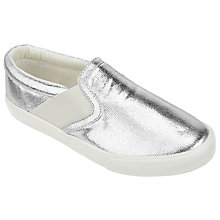 Buy John Lewis Children's Penny Metallic Slip On Shoes, Silver Online at johnlewis.com
