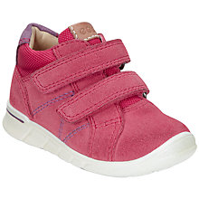 Buy ECCO Children's Suede Rip-Tape Logo Shoes, Raspberry Online at johnlewis.com