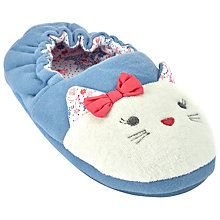 Buy John Lewis Children's Cat Face Slippers, Blue Online at johnlewis.com