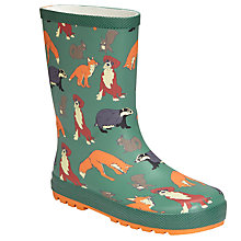 Buy John Lewis Buster the Boxer Children's Woodland Wellington Boots, Green/Multi Online at johnlewis.com