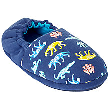 Buy John Lewis Children's Dinosaur Glow In The Dark Slippers, Navy/Multi Online at johnlewis.com
