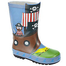 Buy John Lewis Pirate Ship Wellington Boots, Blue Online at johnlewis.com