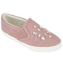 Buy John Lewis Children's Penny Jewel Slip On Shoes, Pink Online at johnlewis.com