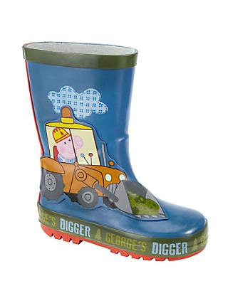Peppa Pig George's Digger Children's Wellington Boots, Blue
