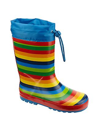 John Lewis & Partners Children's Rainbow Topper Wellington Boots, Multi
