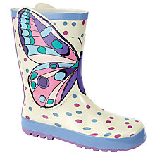 Buy John Lewis Children's 3D Butterfly Wellington Boot, Cream/Purple Online at johnlewis.com