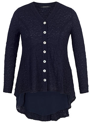 Buy Chesca Chiffon Trim Bubble Blouse, Dark Navy, 12-14 Online at johnlewis.com