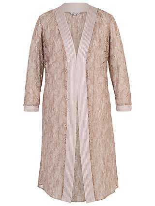 Chesca Floral Embroidered Lace Coat, Mink