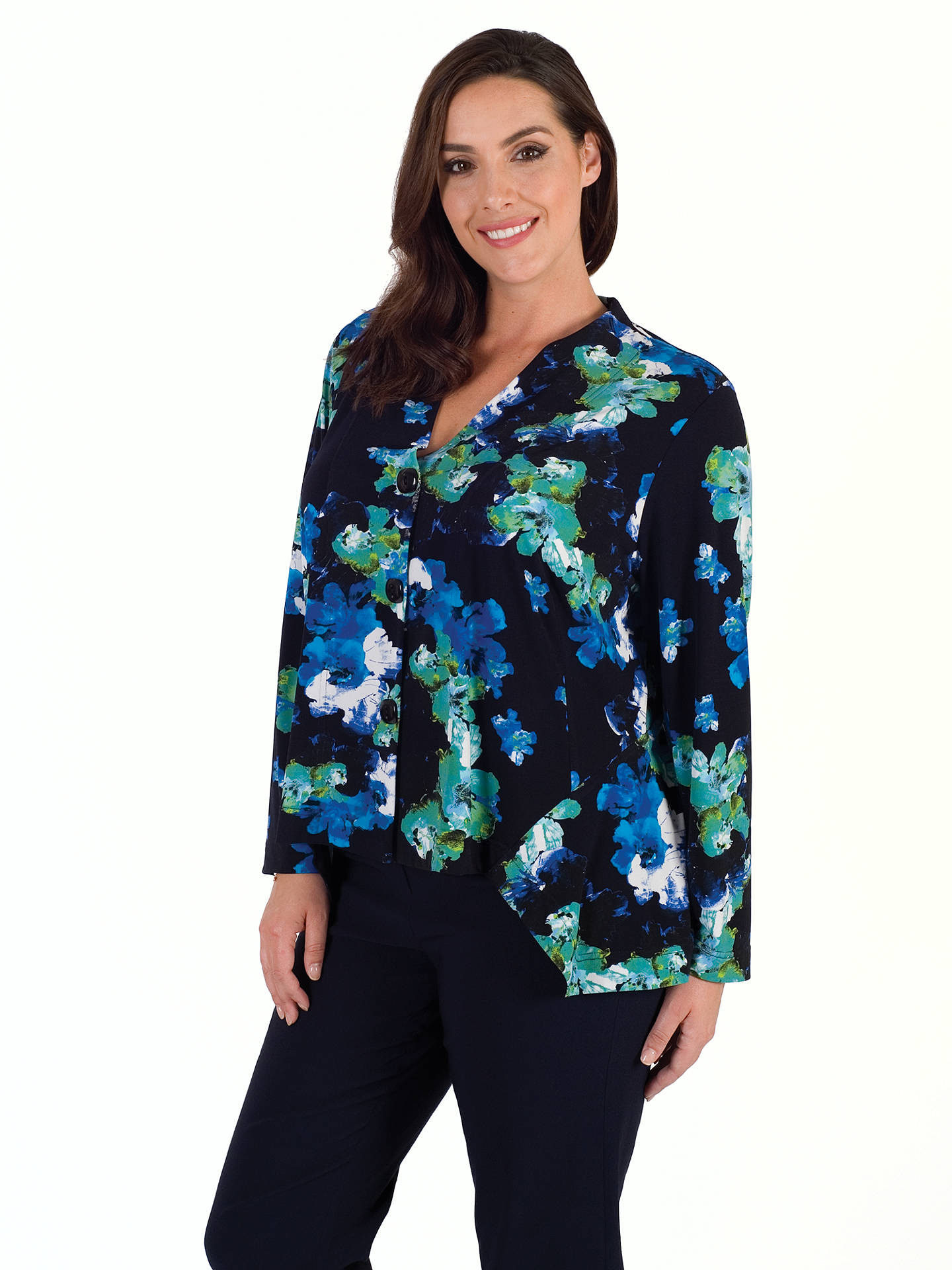 BuyChesca Abstract Floral Print Shrug, Cobalt, 12-14 Online at johnlewis.com