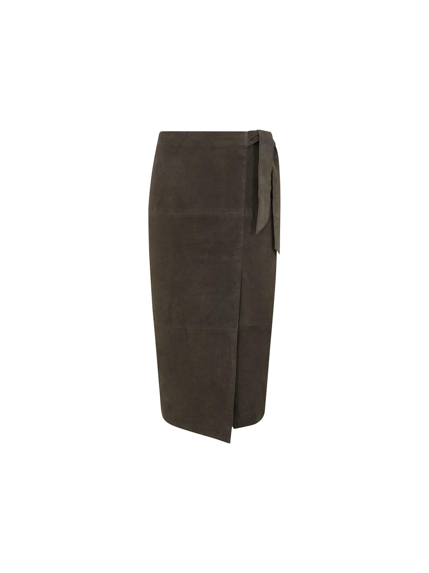 c272ec8036 Buy Mint Velvet Suede Wrap Midi Skirt, Khaki, 6 Online at johnlewis.com ...
