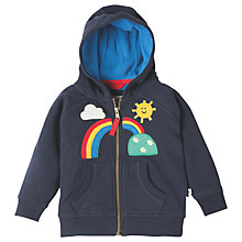 Buy Frugi Organic Baby Hayle Rainbow Hoodie, Navy Online at johnlewis.com