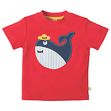 Buy Frugi Organic Baby Whale Appliqué T-Shirt, Red Online at johnlewis.com
