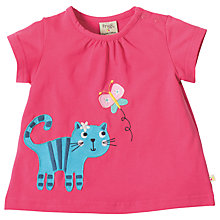 Buy Frugi Organic Baby Amber Applique Cat T-Shirt, Pink Online at johnlewis.com