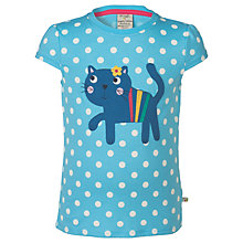 Buy Frugi Organic Girls' Poldhu Applique Cat Top, Blue Online at johnlewis.com