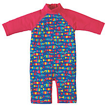 Buy Frugi Organic Baby Little Sun Safe Fish Sunpro Suit, Blue Online at johnlewis.com