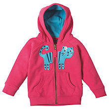 Buy Frugi Organic Baby Hayle Cat Hoodie, Pink Online at johnlewis.com