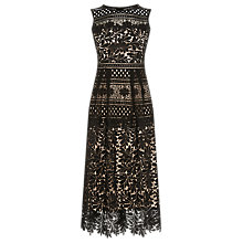 Buy Warehouse Multi Lace Midi Dress, Black Online at johnlewis.com