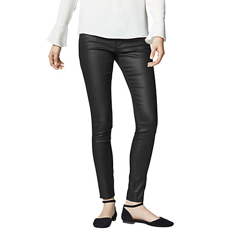 Buy Warehouse Coated Skinny Jeans, Black | John Lewis