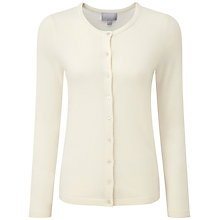 Buy Pure Collection Mallinson Crew Neck Cardigan, Soft White Online at johnlewis.com