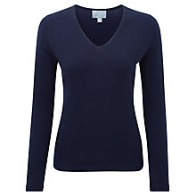 Buy Pure Collection Savanna Cashmere V Neck Jumper, Navy Online at johnlewis.com