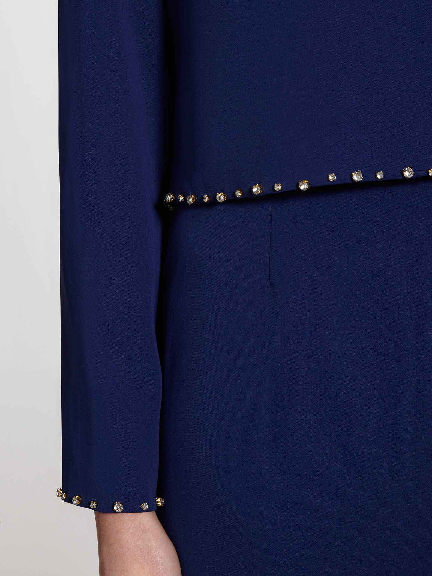 BuyGina Bacconi Crepe Dress With Beaded Overtop, Navy, 8 Online at johnlewis.com