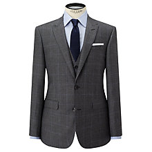 Buy John Lewis Check Super 100s Wool Tailored Fit Suit Jacket, Grey Online at johnlewis.com