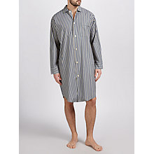 Buy Derek Rose Cotton Stripe Nightshirt, Navy/Yellow Online at johnlewis.com