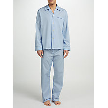 Buy Derek Rose Stripe Woven Cotton Pyjamas, Light Blue Online at johnlewis.com