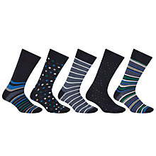 Buy John Lewis Multi Design Socks, Pack of 5, Navy/Blue Online at johnlewis.com