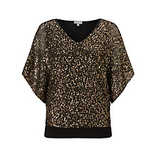 Buy Phase Eight Antonella Sequin Top, Black/Gold Online at johnlewis.com
