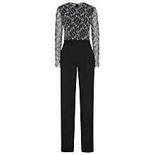 Buy Reiss Mayenne Lace Top Jumpsuit, Black Online at johnlewis.com