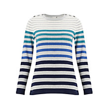Buy East Stripe Button Detail Jumper, Greystone Online at johnlewis.com