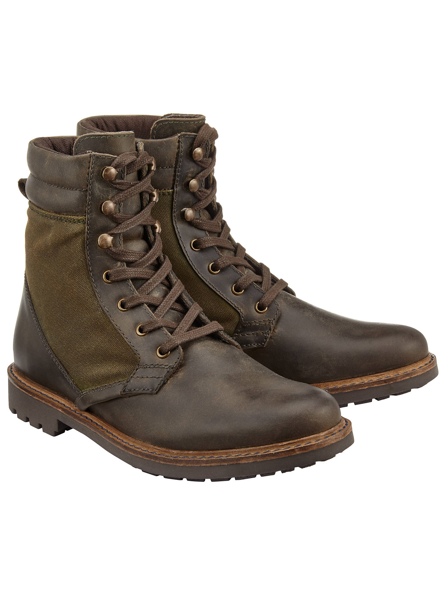 BuyJohn Lewis Wax Canvas Boots, Olive, 7 Online at johnlewis.com
