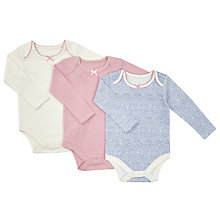 Buy John Lewis Baby GOTS Organic Cotton Pico Trim Bodysuit, Pack of 3, Pink/Multi Online at johnlewis.com