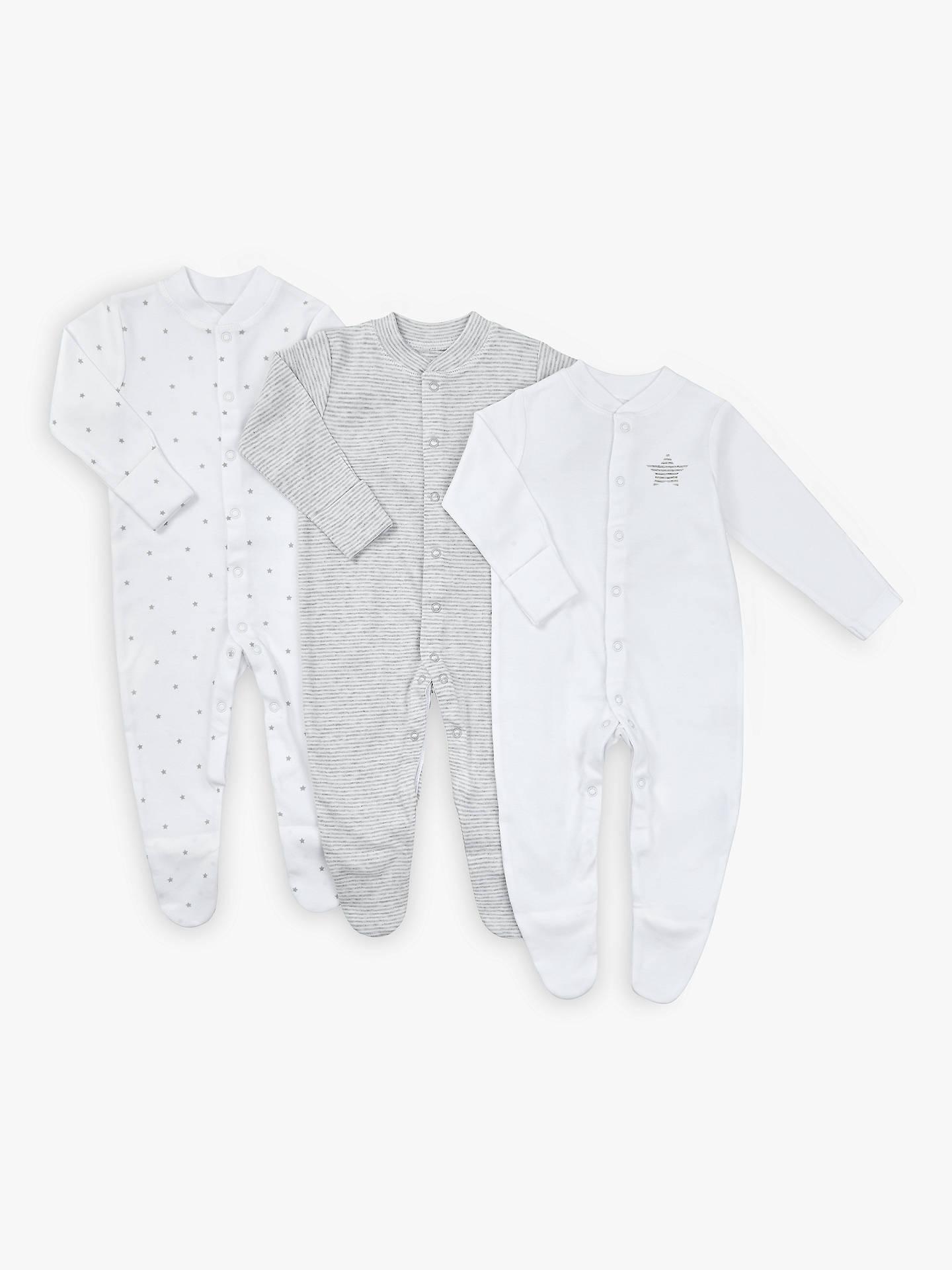 b63bbad5e Buy John Lewis & Partners Baby Stars Long Sleeve GOTS Organic Cotton  Sleepsuit, Pack of ...