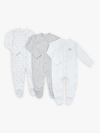 John Lewis & Partners Baby Stars Long Sleeve GOTS Organic Cotton Sleepsuit, Pack of 3, Grey/White
