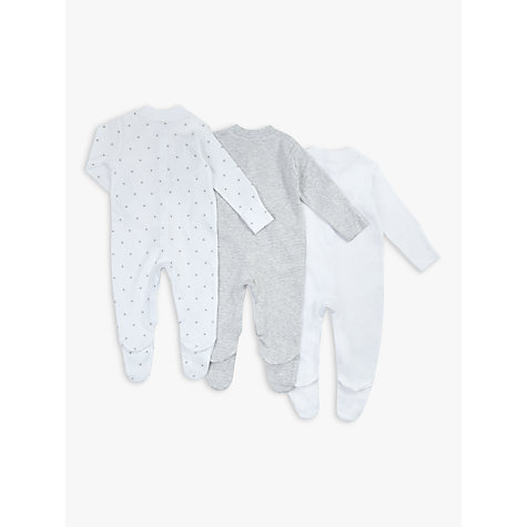 Buy John Lewis Baby Stars Long Sleeve Organic GOTS Cotton Sleepsuit, Pack of 3, Grey/White Online at johnlewis.com