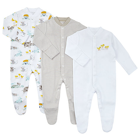 Easter toys gifts easter gifts john lewis buy john lewis baby gots organic cotton farm animal sleepsuit pack of 3 white negle Choice Image