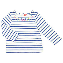 Buy John Lewis Baby Floral Chain Stripe Top, Natural/Blue Online at johnlewis.com