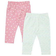 Buy John Lewis Baby Cotton Leggings, Pack of 2, Pink/Aqua Online at johnlewis.com