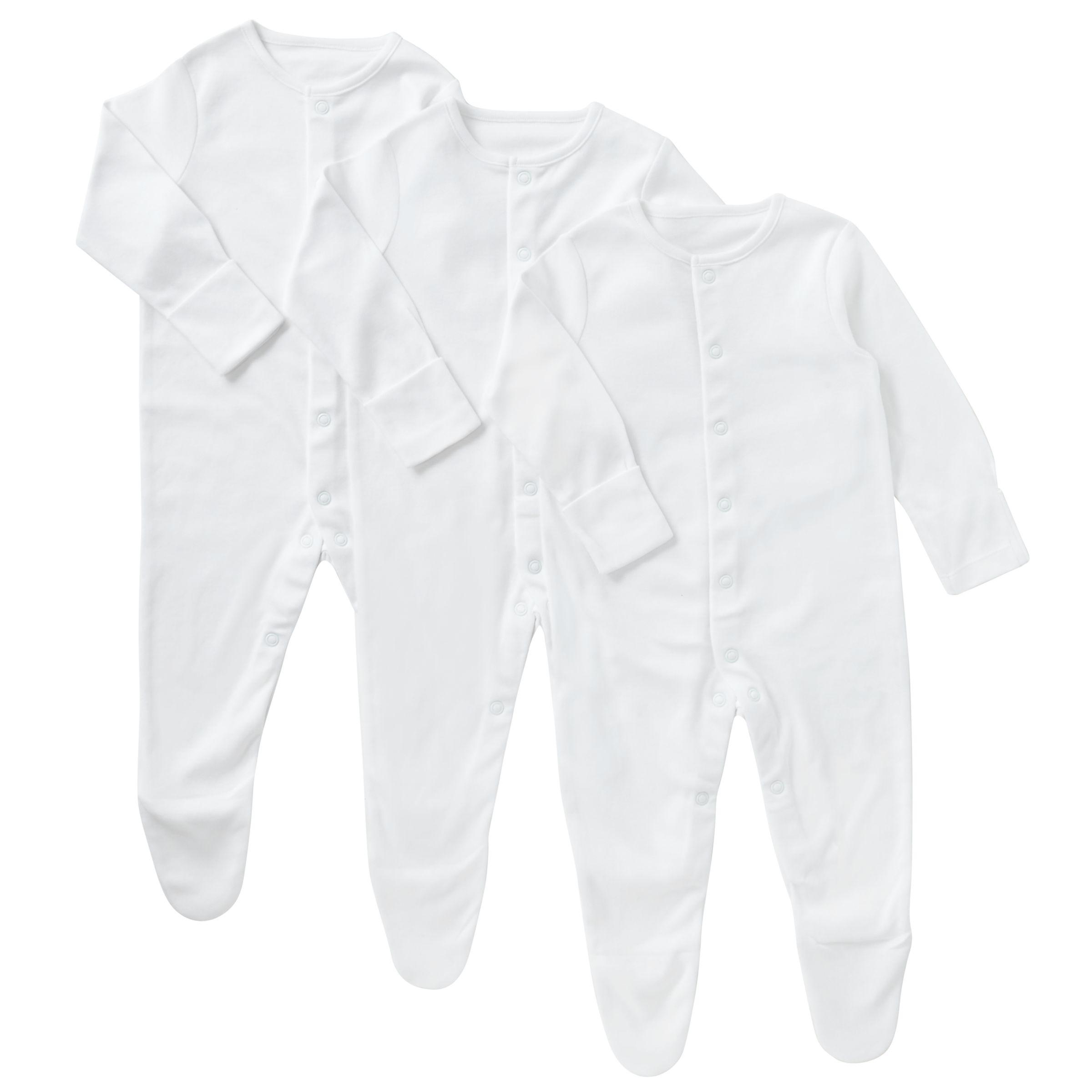 John Lewis Baby Pima Cotton Sleepsuit Pack of 3 White at John Lewis