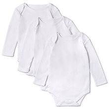 Buy John Lewis Baby Pima Cotton Long Sleeve Bodysuit, Pack of 3, White Online at johnlewis.com