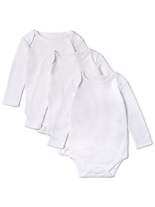 John Lewis & Partners Baby Pima Cotton Long Sleeve Bodysuit, Pack of 3, White