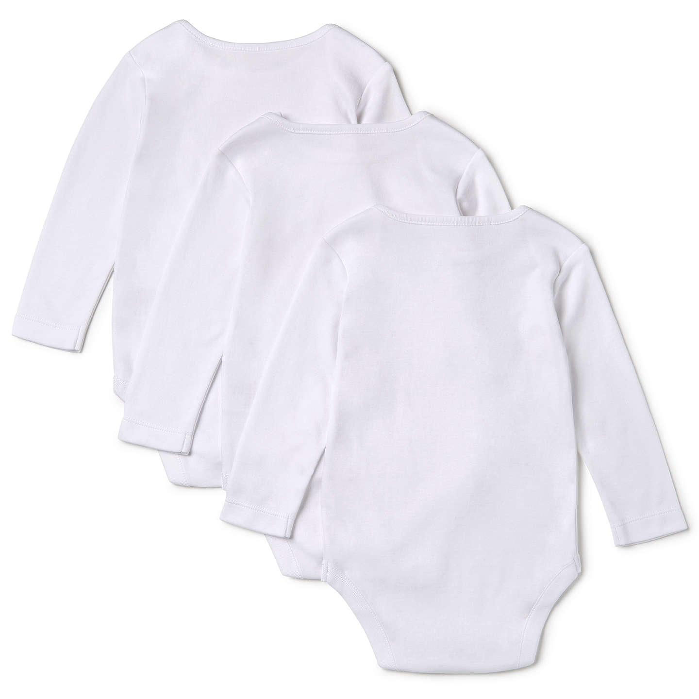 John Lewis Baby Pima Cotton Long Sleeve Bodysuit Pack of 3 White