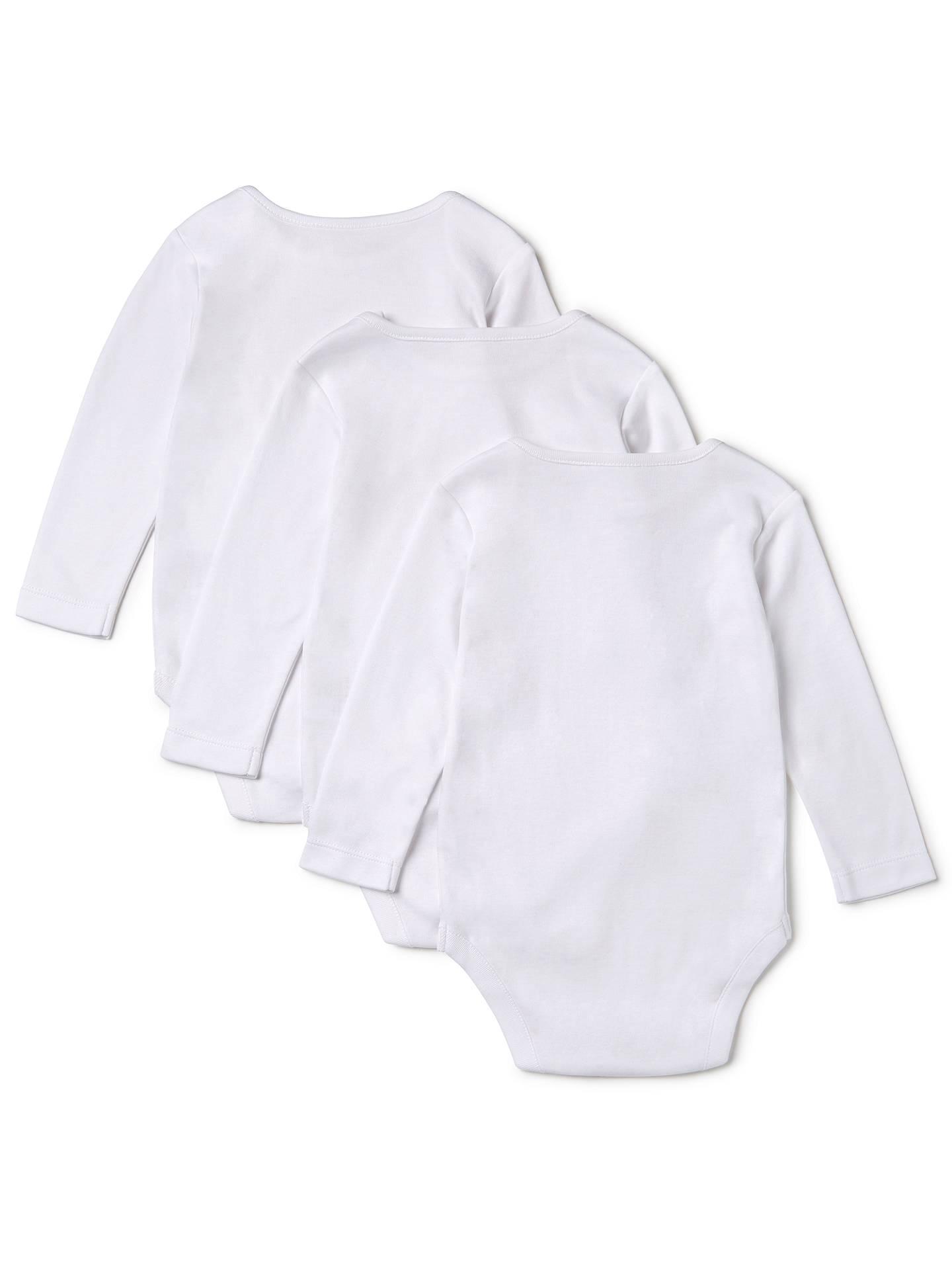 a9a6e9c1 ... Buy John Lewis & Partners Baby Pima Cotton Long Sleeve Bodysuit, Pack of  3, ...